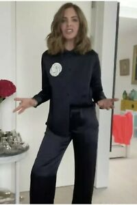 ZARA Limited Edition Satin Suit Trousers & Shirt Co Ord Sz Xs Trinny Serena Bute