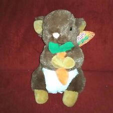 KellyToy BUNNY RABBIT Soft Furry 11in Plush NEW Orange Carrot Sugar Loaf Toys