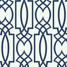 Wallpaper Designer Large Navy Blue Imperial Trellis Lattice on White FREE SHIP