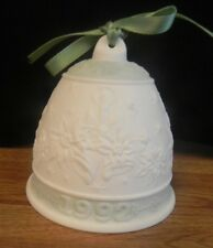 Lladro Bell 1992.Traditional Christmas Bell. White & Pale Green. No Box