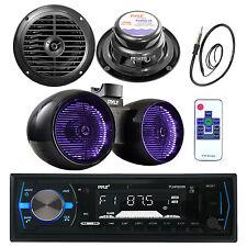 """Pyle Bluetooth USB Marine Radio, 6.5"""" LED Tower Speakers, 6.5"""" Speakers, Antenna"""