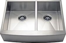 "36"" Double Bowl Apron Farmhouse Stainless Steel Kitchen Sink -AP3619BS- 10"" Deep"