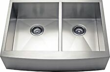 "36"" Double Bowl Apron Farmhouse Stainless Steel Kitchen Sink -AP3619BS- 9"" Deep"