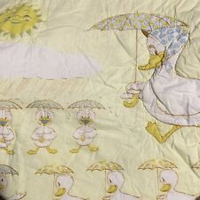 Vintage Mama Duck and Baby Ducklings Handmade Quilt 40 x 47 Inches Crib Blanket
