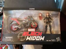 "Hasbro Marvel Legends Series 6"" Black Widow with Motorcycle."