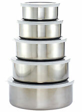 Imperial 5-Piece Stainless Steel  Mixing Bowl Set with Plastic Lids New  Gift