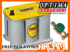 NEW OPTIMA D35 YELLOW TOP DEEP CYCLE AGM BATTERY + FREE ISOLATOR!