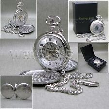 HERITAGE TIME Silver Mechanical Pocket Watch Skeleton Large 50 MM + Fob Chain 24