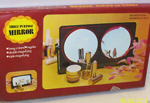 THREE PURPOSE MIRROR Hang n'stand Regular Double & Triple Magnifying-Mint in Box