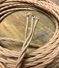 Hellbraun (Beige) Verdreht 3-Wire Tuch Bedeckt Kordel, 18ga Vintage Antik Licht