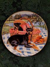Family Picnic Patricia Bourque Collector Plate Danbury Miniature Pinscher Dogs