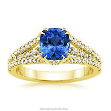 14K Yellow Gold Real 1.16 Ct Cushion Diamond Natural Blue Sapphire Ring Size T O