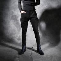 Gothic Black Mens Trousers Punk Motor Stretchy Cotton Dance Pencil Pants X233