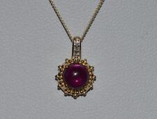 New 9ct yellow gold Brazilan Garnet & Diamond pendant and 18 inch chain and earr