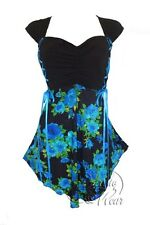 BabyDoll Dare to Wear CINCH Tie Back Corset Top TEAL ROSE Size XL, 1X, 12-14