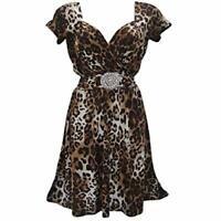 Ladies Womans Leopard Animal Print Party Evening Tea Dress Size 10-12 UK