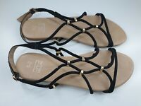 F&F size 7 (41) black faux suede strappy buckle slingback flat casual sandals