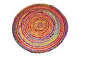 Indian Home Decor Rugspatchwork Jute Area Rug Braided Bohemian Round Rag Rug