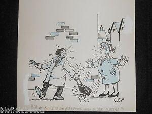 "CLIFFORD C LEWIS ""CLEW"" Original Pen & Ink Cartoon - Bag Snatcher, Thief #409"