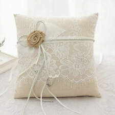 Vintage Rustic Burlap Lace Wedding Ring Bearer Cushion Pillow Flower Girl Floral