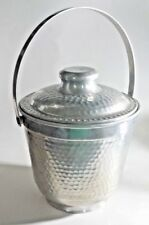 Vintage ICE BUCKET Alpine Hammered Aluminum Italy 1960's Style Retro Metal