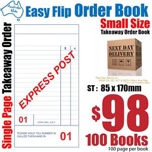 100x Takeaway Restaurant Docket Order Book 85x170mm [RD131]