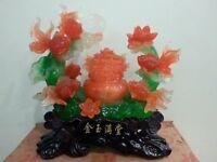 "6/""5H Chinese 5 Goldfish  Wealth Money Statue"