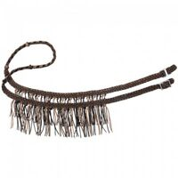 Tough-1 8' Knotted Cord Tan, Brown and Black Roping Reins w/Fringe Horse Tack