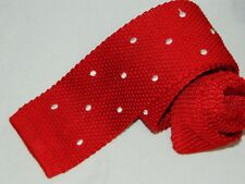 Men's Daniel Cremieux Red 100%Silk Knit tie Made in Italy
