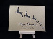 Pack of 10 Personalised Handmade Kraft Christmas Cards Reindeer