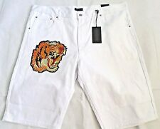 STEVE'S JEANS Size 42 White Denim Embroidered Tiger 5 Pockets Men's Shorts NEW