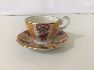 Miniature Royal Albert Old Country Rose Cup And Saucer - GREEN CHINTZ