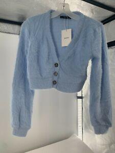 NEW Bershka Women's Crop Top Long Sleeve Button Up Soft Cardigan Blue SZ S NWT