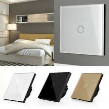 1 2 3 Gang 1 Way Crystal Glass Panel LED Light Smart Touch Screen Wall Switch US