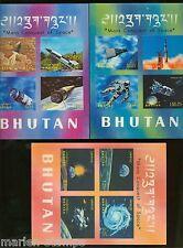 BHUTAN SPACE CONQUEST SCOTT#118Cm,118Gn & 118Ko  MINT NH SCOTT VALUE $55