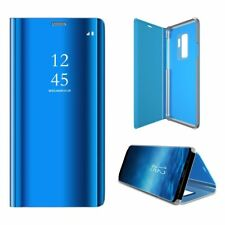 Flip Smart Case for Samsung Galaxy S9 Clear View Mirror Kickstand Cover Blue