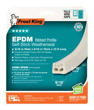 "9/16"" X 10' White EPDM Ribbed Profile Self-Stick Weatherseal - 5/16"" Thick"