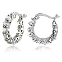 BERRICLE Sterling Silver Cubic Zirconia CZ Fashion Inside-Out Hoop Earrings 0.86