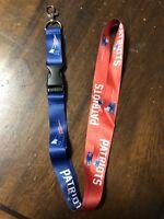 New England Patriots Football Lanyard ID Badge Holder Breakaway Clip Keychain