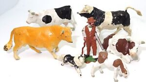 BRITAINS HERALD FARM SET - CATTLE, FARMER, DOG ETC - 1960 - 8 PIECES