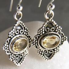 Handmade Citrine Drop/Dangle Sterling Silver Fine Earrings
