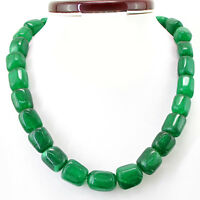 1037.70 CTS EARTH MINED SINGLE STRAND GENUINE RICH GREEN EMERALD BEADS NECKLACE