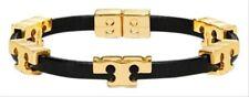 BRAND NEW AUTH Tory Burch Black Serif T Serif-t Single Wrap Leather Bracelet