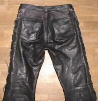 """lange """" AKASO """" Herren- LEDERJEANS / Biker- Lederhose in schwarz in W30"""" /L35"""""""