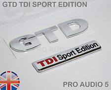 GTD Sport Edition Badge Set - Boot Body VW GOLF TDI Turbo Diesel Car Wing UK NEW