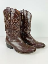 *FLAWS* VTG ROCKY CARROLL Western Boots Brown Leather Personalized Initials