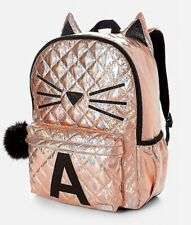 """Justice Girl's Quilted Cat Initial """"B""""H"""" Full Size Backpack Pom Pom NWT"""