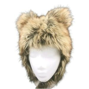 HJA Brown Faux Fur Hook And Loop Chin Strap Hat With Ears