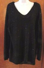 """Ladies """"Apt 9"""" 2X, Black, Sequin Infused,V-Neck,Lined, Lng Sleeve Sweater"""