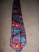 Gents M&S Divertente Cravatta con anatre e fiori in stile classico blu e rosso